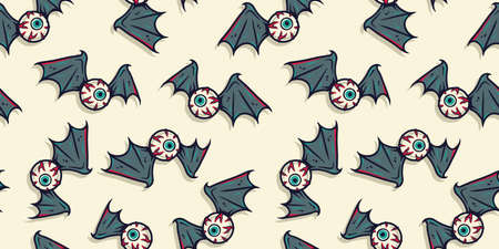 Halloween pattern with bones, eyeball and wings
