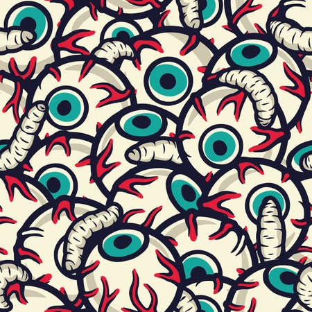 Pattern with horrible eyes for halloween holiday