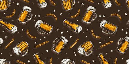 Pattern wallpaper with beer mug, barley for design