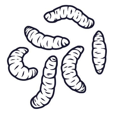 set of scary maggots worms for halloween design