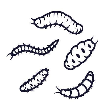 Set of scary caterpillar for halloween design