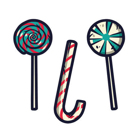 Set of christmas lollipop for the new year holiday