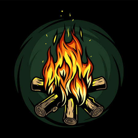 Burning bonfire with a large flame for camping