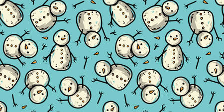 Pattern wallpaper new year or christmas snowmans
