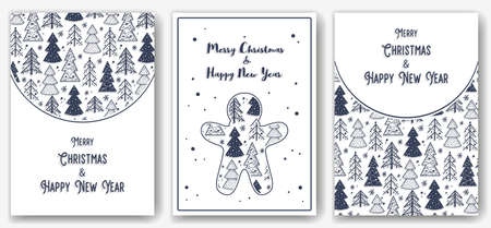 Postcard of christmas forest for new year holiday