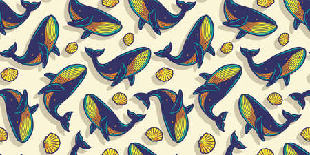 Pattern wallpaper with ocean whale in wild life