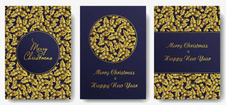 Postcard of christmas holly for new year holiday