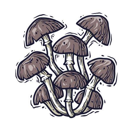 Autumn forest honey mushroom picking vegan menu
