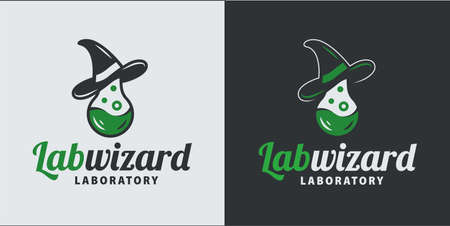 Scientist wizard hat and test tube. Medical logo