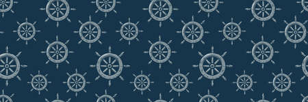 Pattern wallpaper with old ocean nautical helm