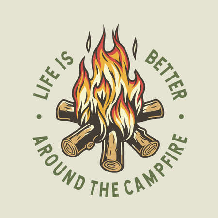 Print of burning campfire with flame for camping Vector Illustration