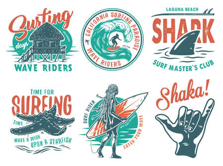 Summer surfing print set with surfer on wave. shaka, shark starfish on coast and surfboard. Vector colored t-shirt hawaii apparel design