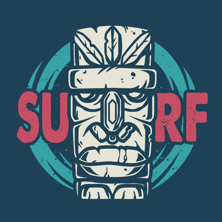 Colored surfing print of stone tiki mask, face idol. Vector illustration hawaii summer t-shirt design