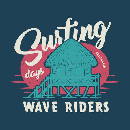 Colored surfing print of standing bungalow on wave. Vector illustration hawaii summer t-shirt design