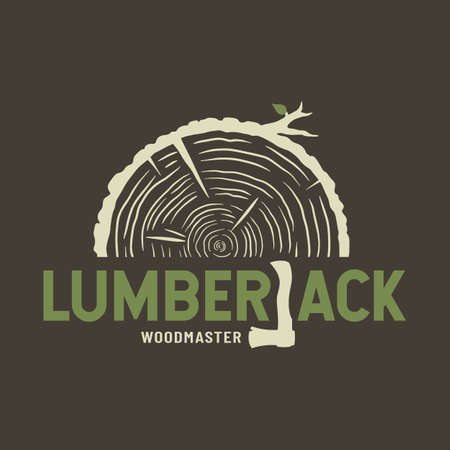 Colored emblem of lumber wood with ax lumberjack for camping, carpentry or woodworking design