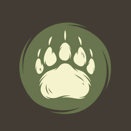 Camp bear footprint for camping and outdoor travel expedition or t-shirt print