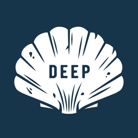 Marine seashell. Nautical deep sea ocean mollusk