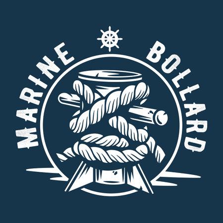 Mooring sea bollard. Nautical marine rope knot  イラスト・ベクター素材