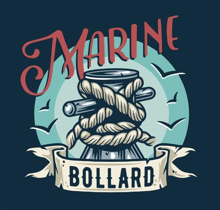 Mooring sea bollard. Nautical marine rope knot