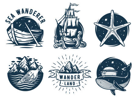 Marine print set with sea ship, starfish and whale