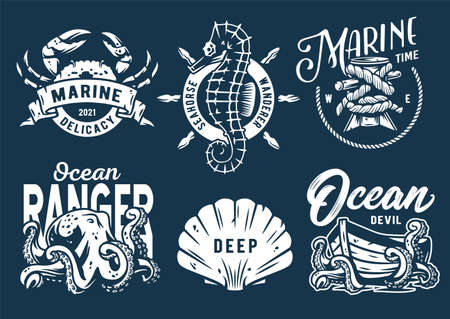 Marine print set with sea octopus, crab and helm