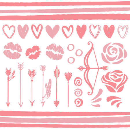 Set of love elements for Valentines Day holiday
