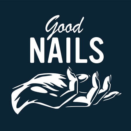 Emblem with female hand, woman wrist for nail bar