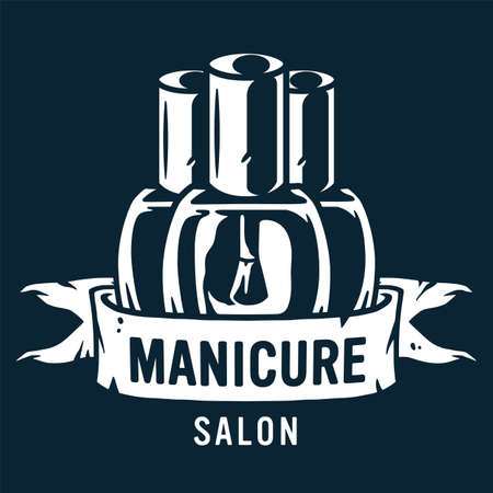Emblem with manicure polish, varnish for nail bar