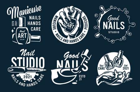 Set emblem of manicure nail bar or beauty salon