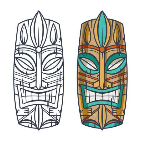 Trendy hawaii tiki mask or face idol. Ethnic totem