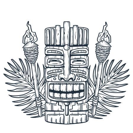 Set of hawaii tiki mask or face idol. Ethnic totem Ilustración de vector