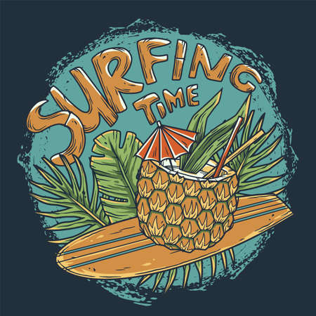 Surfing hawaii cocktail on surf bord for t-shirt print. tropical surfbord and drink pineapple for tiki bar or beach bar