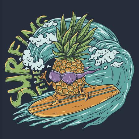 Surfing hawaii pineapple on surf bord for t-shirt print. Tropical surfbord emblem for surfer tiki bar or beach bar