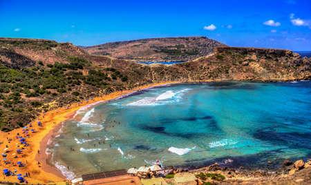Tuffieha Bay - Malta beautiful beach Фото со стока