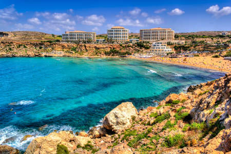 Amazing Golden Bay in Malta Stock Photo