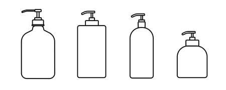 Set flat design of bottle vector icon. Line art