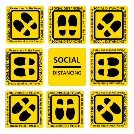 symbol of The standpoint in a yellow frame with the text According to the concept, stop the spread of germs by making a social distance in the elevator.