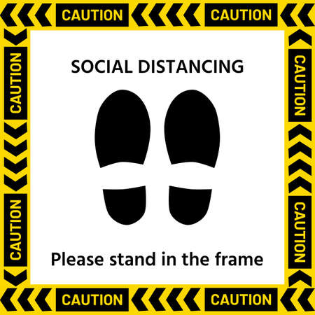 Symbol of The standpoint in a yellow frame with the text According to the concept, stop the spread of germs by making a social distance.