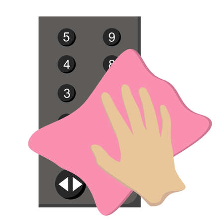 Use the cloth to clean the elevator control panel, flat design vector.  イラスト・ベクター素材