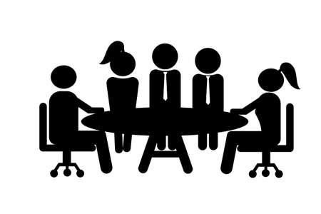 Business meeting and teamwork, Groups of five people in conference room. Black icon.