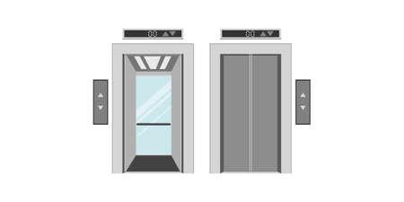 Flat vector design of the elevator. Consists of an open-door lift and a closed-door elevator.