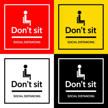"the label with people sit icon and text ""don't sit"" and text ""social distancing"""