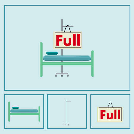 Symbol of a full bed hospital. Consists of the bed of the patient, a hanging brine rack and a sign showing the message