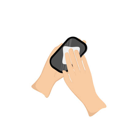 Wiping the smartphone screen clean with an alcohol-based cloth to prevent infection of the covid-19 virus. Flat design vector.