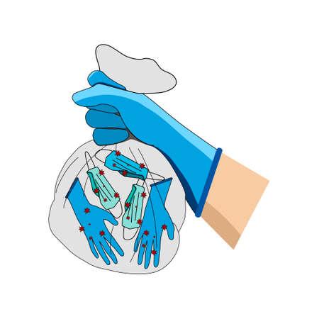 Die Hände tragen Handschuhe und tragen Müllsäcke mit infizierten Handschuhen und infizierten OP-Masken. Vektorgrafik
