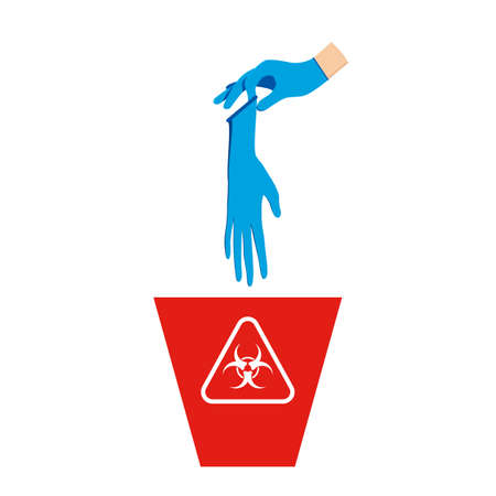 The hand wear rubber glove and holding a used rubber glove is above the red bin, with the symbol of infectious waste. How to discard the used rubber gloves correctly for prevent infection. Flat design