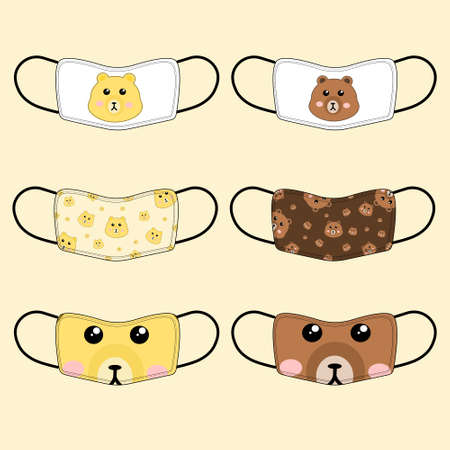 Set of 6 pieces of cute bear pattern fabric mask on soft yellow background. flat design vector.