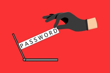 The password was seized from the computer screen with the criminal's hand on red background. The password is being hacked by the hacker.