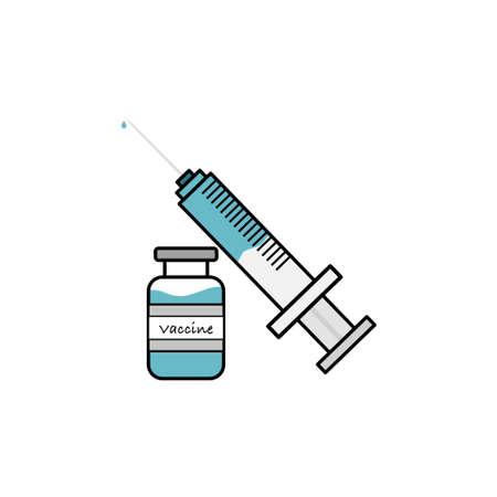 Syringe and vaccine bottle, flat design vector. blue tone.