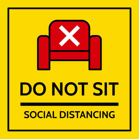"the label with chair icon and mark cross symbol with text ""DO NOT SIT"" and text ""social distancing"""